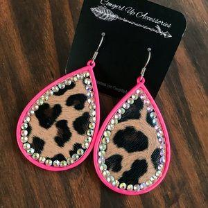 Pink Leopard Rhinestone Earrings